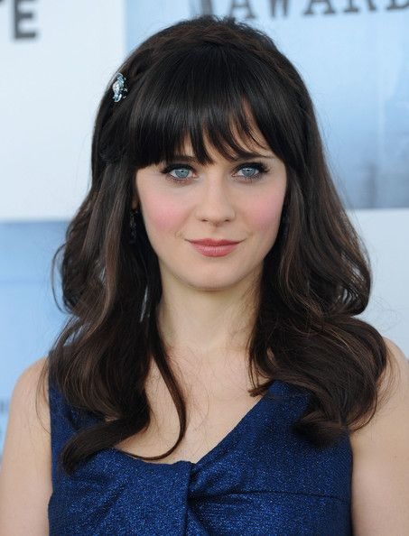 Zooey Deschanel Medium Curls with Bangs - Zooey Deschanel Shoulder Length Hairstyles - StyleBistro