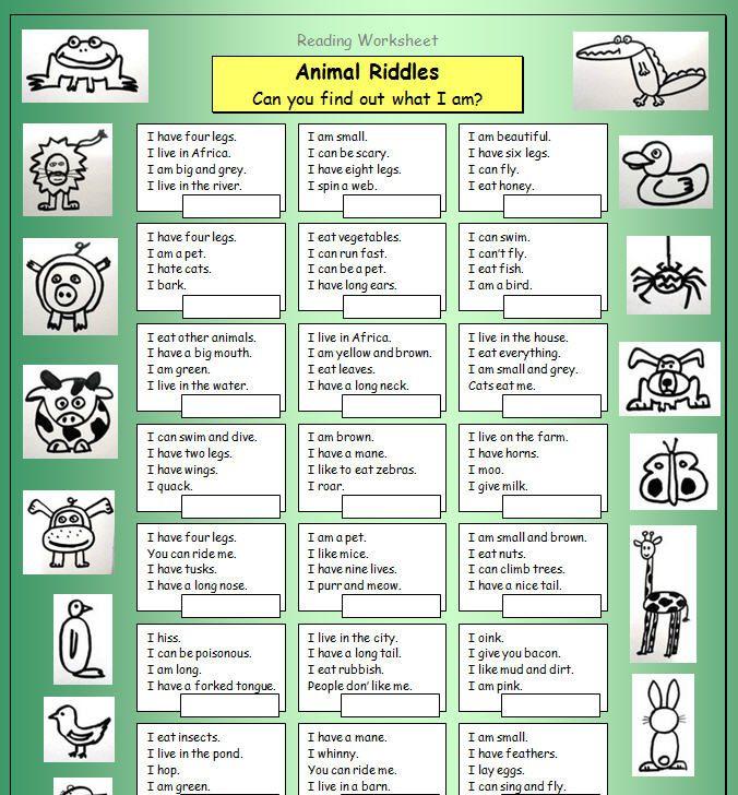 Animal Riddles Animal riddles, English worksheets for