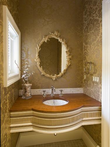 What a stunner thibaut 39 s manhattan damask in mocha from for Mocha bathroom ideas