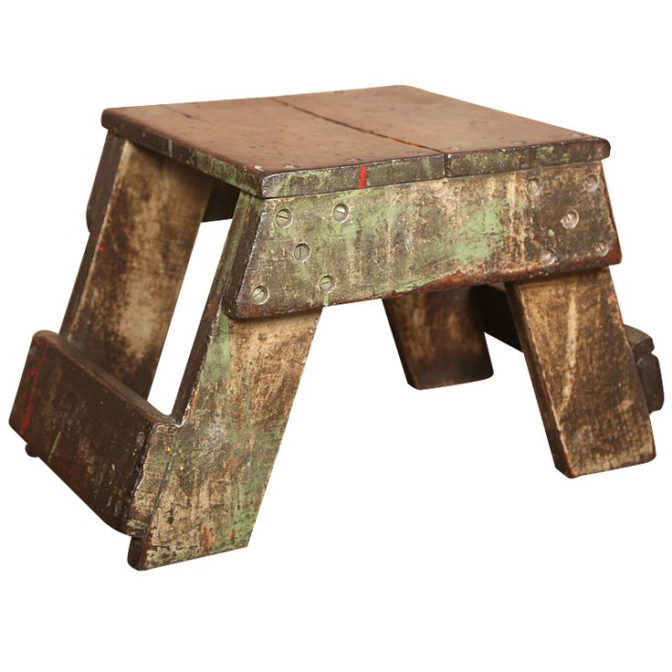 Old Wooden Stool ~ Images about foot stools on pinterest