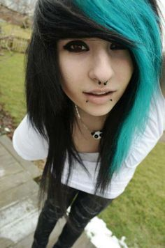 teal scene hairstyles for girls | Showing (14) Pics For Blue Scene Hair Tumblr...
