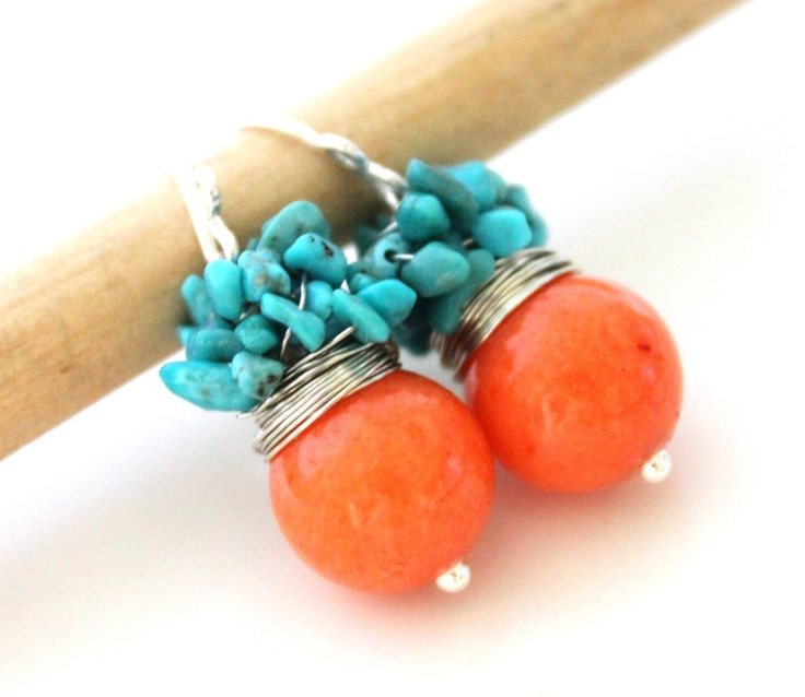 Orange earrings - The Orange Soralee - fresh earrings with round jade and cluster of turquoise stones -- love these