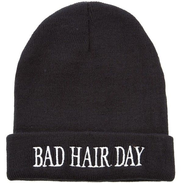 Black Bad Hair Day Beanie (6,12 BRL) ❤ liked on Polyvore featuring accessories, hats, beanies, gorros, black beanie, black hat, beanie hats and black beanie hat