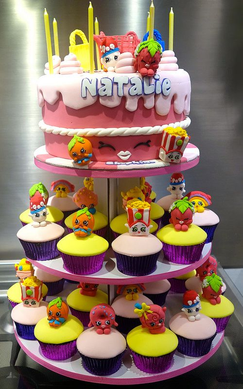 "shopkins cupcake tower | by Little ""Miss"" OC's Kitchen #shopkins #cake #cupcakes #party #ideas"
