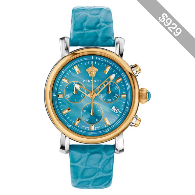 versace day glam chronograph watch w leather strap
