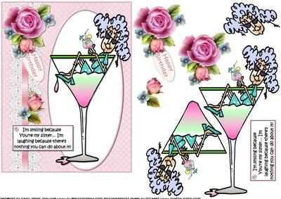 CUP535696_1209 - a decoupage sheet made following a request thank you Jenny hope you like it. Features Stella sat in the cocktail glass with...