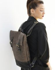 Unisex flat black cork and grey leather backpack