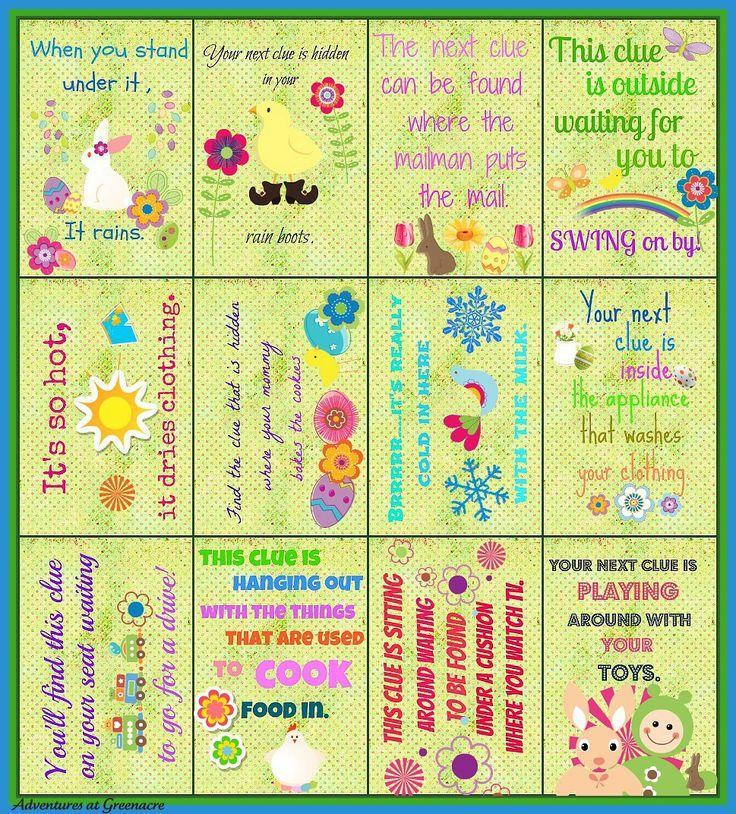 Easter egg hunt clues printable.jpg (969×1072)