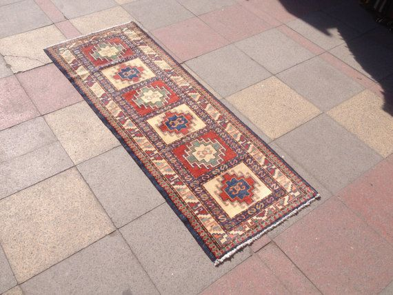 "Vintage Kazak Tribal Wool Carpet Runner Rug Oriental old Carpet Rug Turkish Handmade Natural Dye 24,4""x67,7"" (62 cm x 172 cm)"
