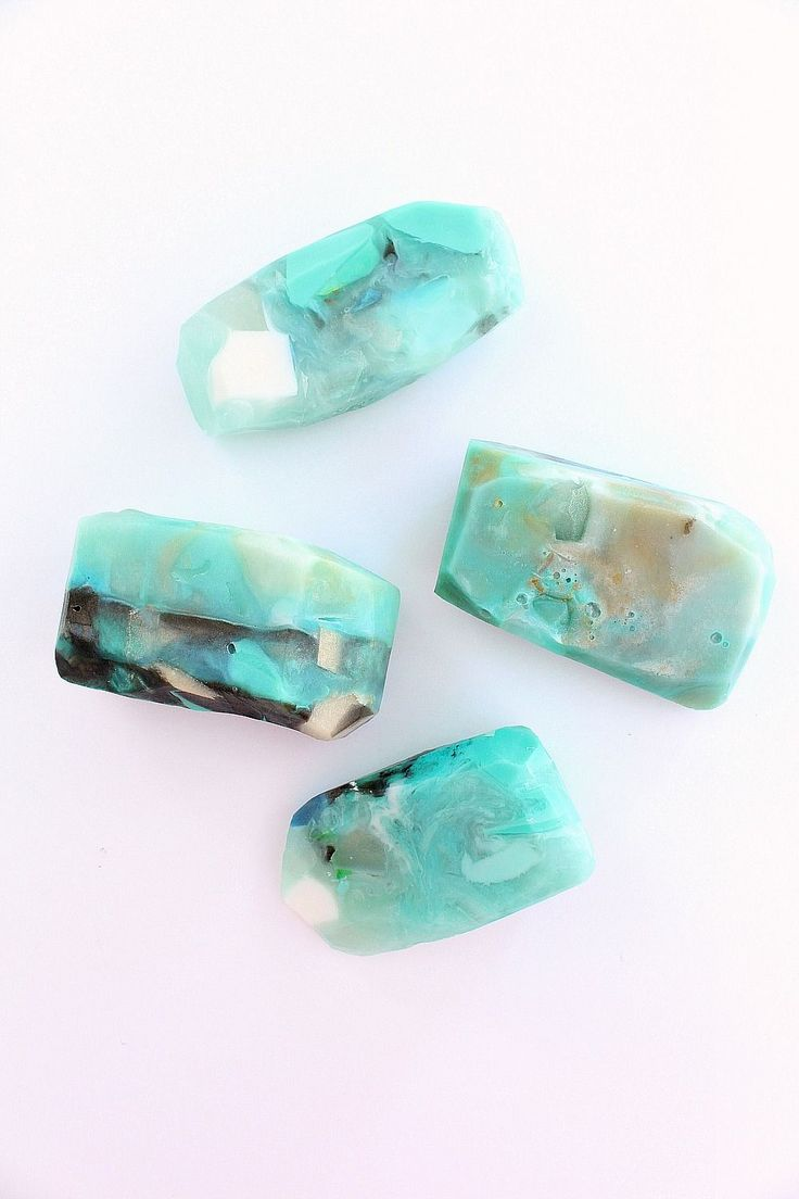 DIY gemstone soap tutorial with melt and pour glycerine soap base.  How to make soap rocks!