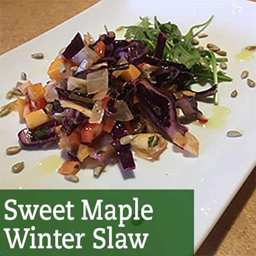 It's a winter slaw but good for all seasons - there's maple syrup in the dressing! Serves 8-10, 200 calories per serving