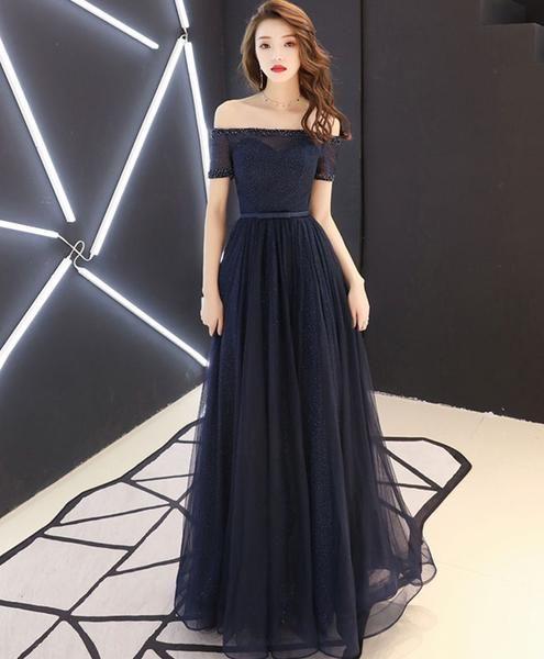 96285d4343ac Dark blue tulle long prom dress, blue tulle evening dress in 2019 ...