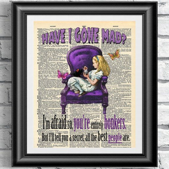 SALE Original art print on antique dictionary book page. Alice in wonderland inspirational quotation. Purple version on upcycled book page.