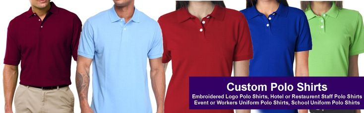 Custom Embroidered Polo Shirts High-Quality Custom Polo Shirts with Embroidered logo or printed. These Best quality Tagless Polo shirts will represent your Fashion brand or could be used as staff uniforms or as School uniforms too.