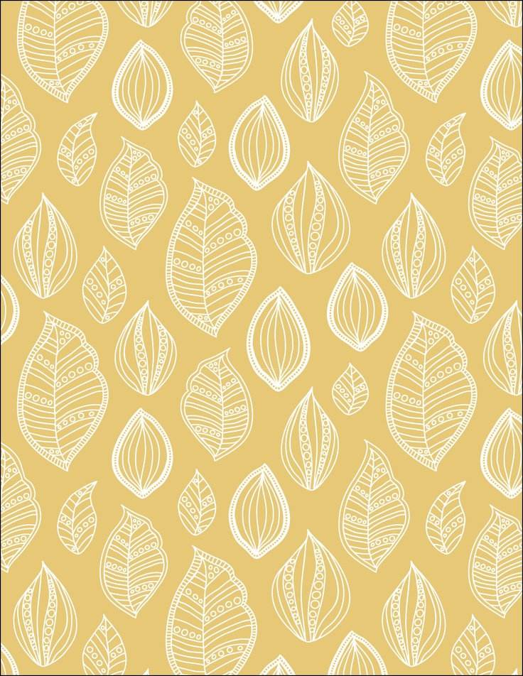 Yellow Painted Leaves - fabric design