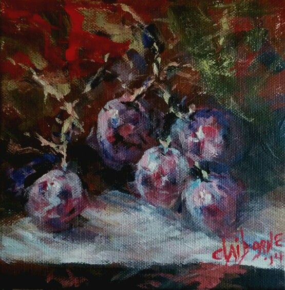 Red Grapes ....6 x 6 acrylic on canvas....Sold. ....www.claibornescorner.com