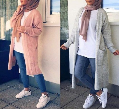 long cardigang with hijab-Hijab street style looks – Just Trendy Girls #StreetHijabFashion