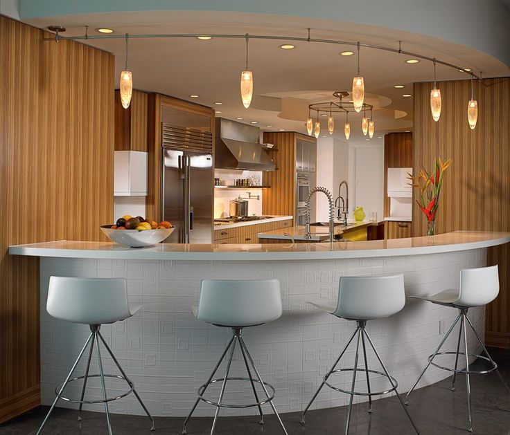 Awesome White Textured Round Table Bar With Modern White Chairs And  Beautiful Pendant Lamps Also Gorgeous. Home Bar DesignsKitchen ...