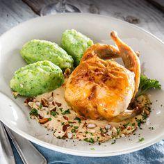 ALDI België - Recept - Gevulde kwartels met broccolipuree en hazelnoot-mosterdroomsaus
