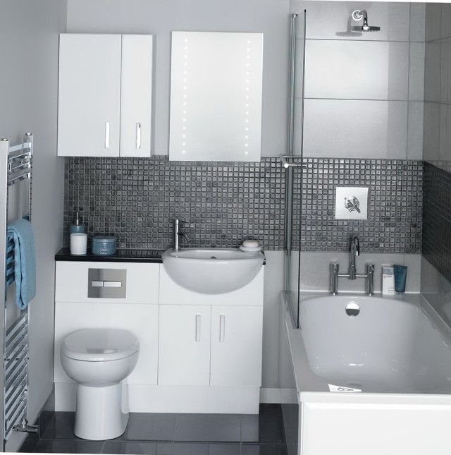 Layout, showerbath, bench concealed cistern WC, semi recessed basin, feature splashback mosaic tile