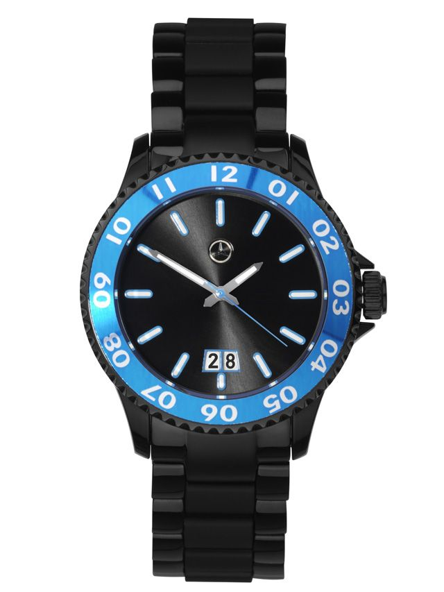 Unisex watch black B66951160 Colour:Β Β Β  black/south sea blue  Material information:Β Β Β  plastic / stainless steel  Black/south sea blue watch in plastic/stainless steel. Stainless steel bracelet strap with black coated elements.  Links move individually. Folding clasp. Plastic case. Rotating aluminium bezel with south sea blue metallic finish.  Date feature. Water-resistant to 5 ATM.