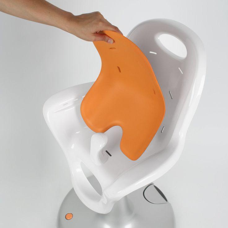 boon flair pedestal highchair white and orange 3
