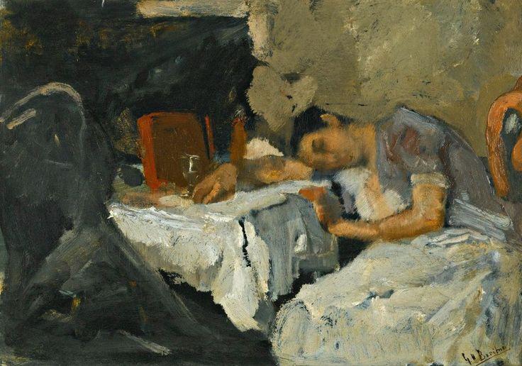 """GEORGE HENDRIK BREITNER (DUTCH, 1857 - 1923)  """"SLEEPING GIRL"""""""
