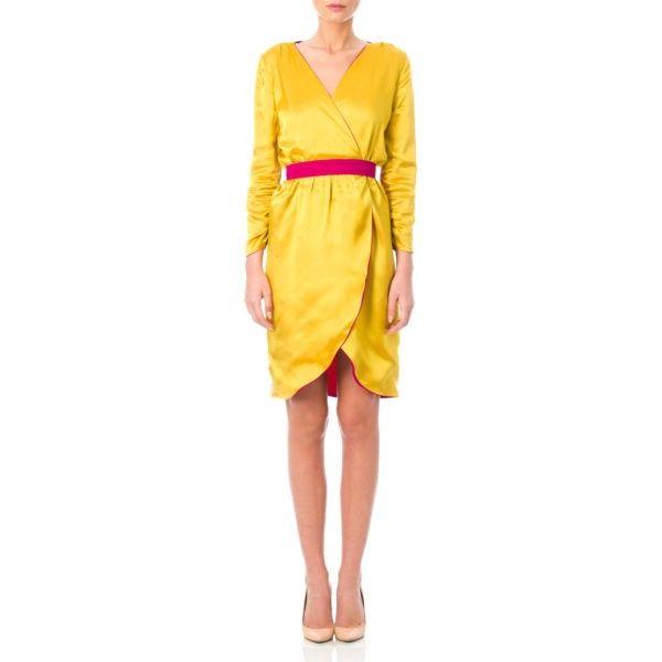 Reversible double face dress SILK dress yellow magenta