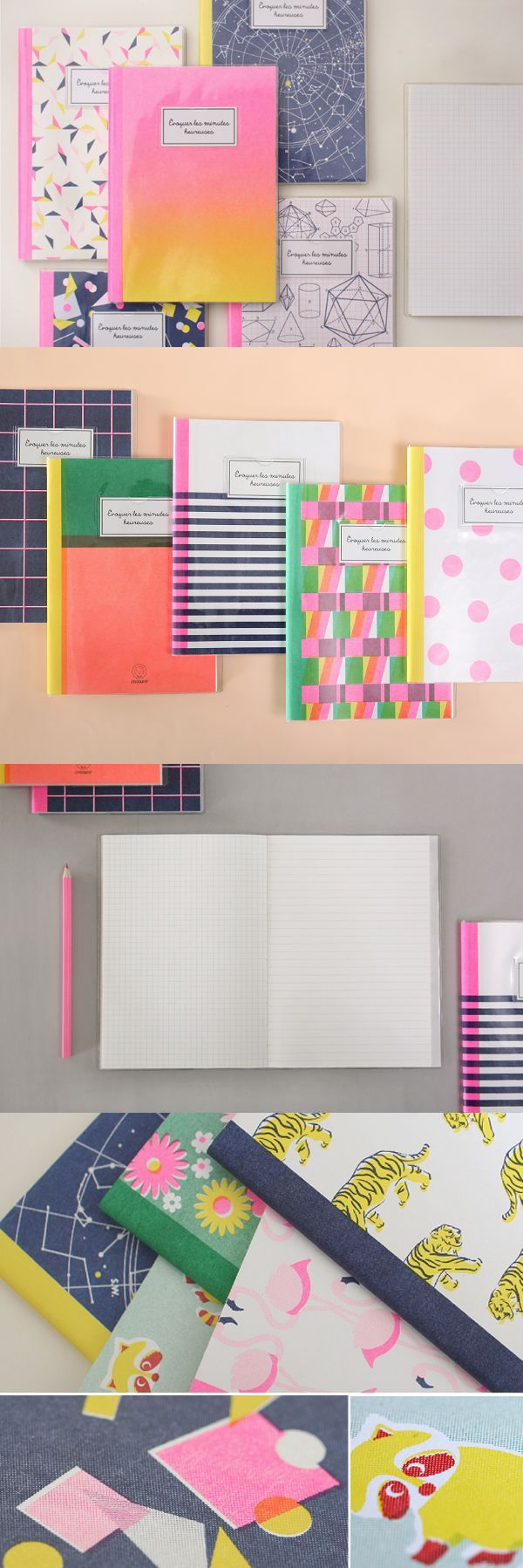 Upgrade your school supplies! This cute notebook has 20 different styles of vibrant patterns to choose from & it's printed with the unique screen-printing technique for a fun vibe~ The front of each page is lined & the back side is gridded so you have even more variety! To top it off, it comes with a protective PVC cover too! This definitely isn't your average composition notebook.  Check it out! ^_^