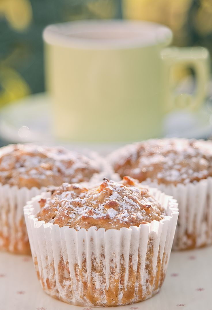 Morning tea with muffins.