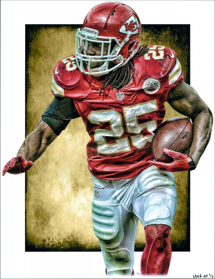 "Jamaal Charles Chiefs Limited Edition 11"" x 14"" Signed Art Print by Jeff Lang (Artist Proof #1/3) at Pristine Auction"