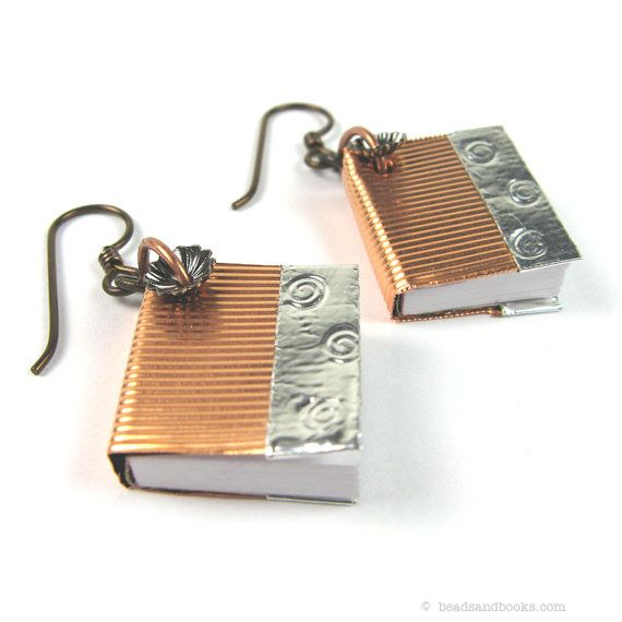 """Book Earrings by michellemach, via Etsy. Part of my """"Write Away"""" Treasury, with lots of great gift ideas for writers or the literary-minded: http://www.etsy.com/treasury/Njc0NDA2NXwyNzIzMzg5OTE0/write-away"""