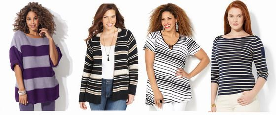 "DRESSING MISTAKES: Wide stripes make everybody looking bigger. Choose ""barcode"" stripes, or narrower stripes instead."
