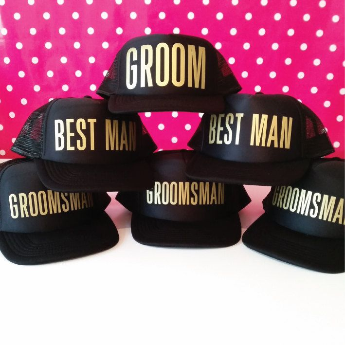 Set of 6 Bachelor Party Hats. Mix and Match. Choose from Groom Hat. Best Man Hat. Groomsman Hat and Team Groom Hats. by SoPinkUK on Etsy