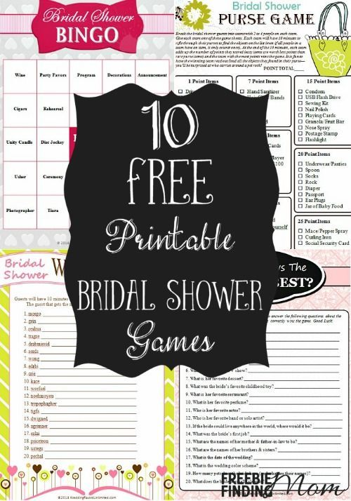 Want to ramp up the fun at a bridal shower? Download these 10 free printable bridal shower games. Everyone will have a blast playing How Well Do You Know the Bride and Groom?, Bridal Bingo, the Bridal Shower Purse Game, and more.