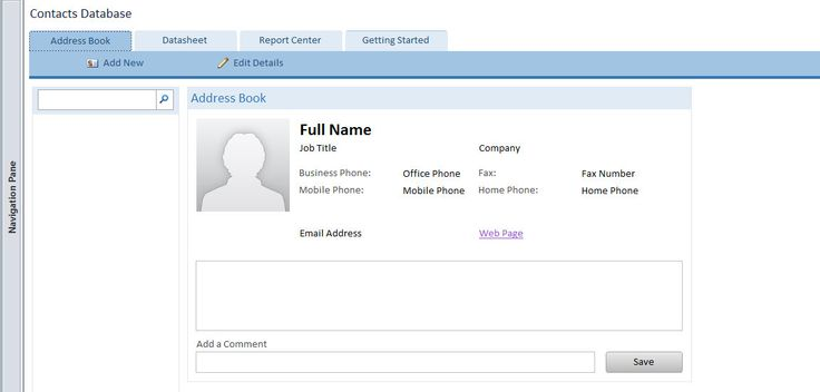 Access Contacts Web Database Template | Microsoft Access Databases ...