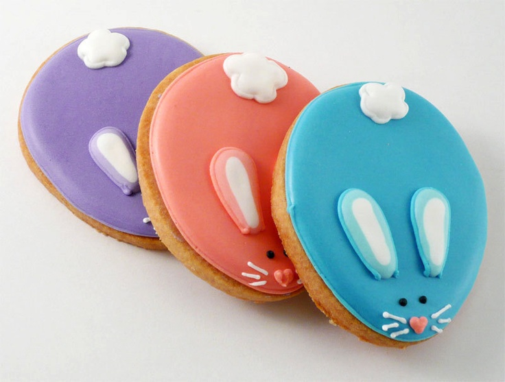 Decorated Cookies - Colorful Easter Bunnies Repinned By:#TheCookieCutterCompany