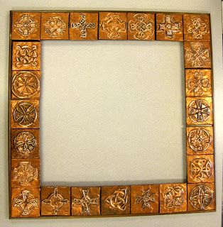 Copper tooling is amazing!     This is a mirror frame we did for our art auction project.   The 7th graders each did two tiles and the best...