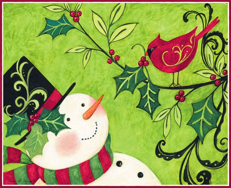 Susan Winget - Snowman and Cardinal