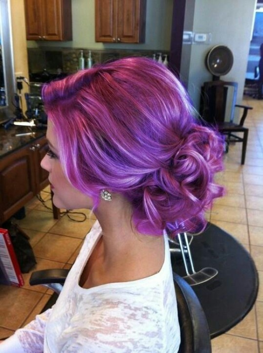 Love the color and style!! Wedding hair!! making me want to change my color from red and black to purple and black.....
