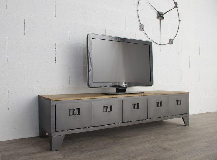 Meuble tv industriel avec ancien vestiaire 5 portes - Meuble tv pied de lit ...