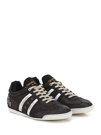 PANTOFOLA D'ORO - Sneakers - Uomo - Sneaker in pelle delavè e tessuto tecnico con borchie su lato esterno e suola in gomma. Tacco 15. - ANTRACITE - € 165.00