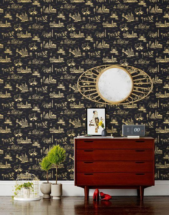 Black Wallpaper: 15 Stylish Patterns for 2016   Apartment Therapy