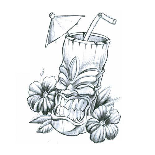 Flowers and Tiki Tattoo Design