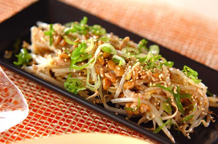モヤシとツナ、納豆を炒めた節約レシピ! サッと作れてとっても簡単。モヤシの納豆炒め[和食/炒めもの]2010.06.15公開のレシピです。