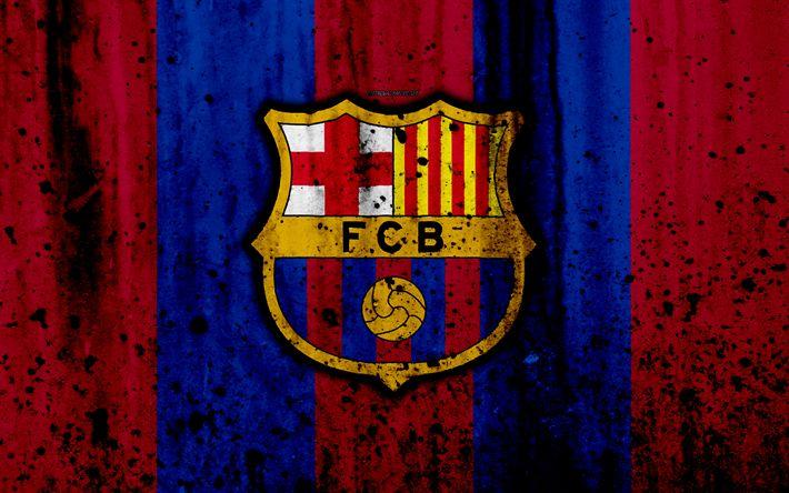 Download wallpapers FC Barcelona, 4k, grunge, FCB, La Liga, stone texture, Barca, soccer, football club, Barcelona, LaLiga, Barcelona FC
