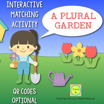 $ Plural Nouns Garden - Interactive Matching Activity - QR codes optional + 2 worksheets