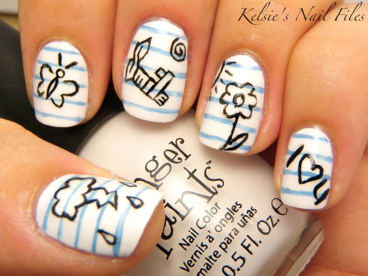 Notebook paper & doodling. Super cute for back to school. #nails