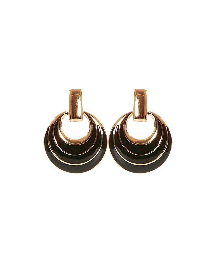 Coppia di #orecchini con pendenti a mezzaluna color nero arricchito da sottili filamenti oro
