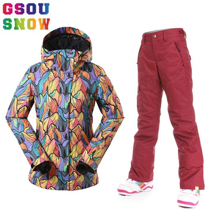 Gsou Snow Women Ski Suits Women Winter Outdoor Ski Wear Waterproof Breathable Skiing Jacket Pants Warmth Female Snowboard Sets #Affiliate
